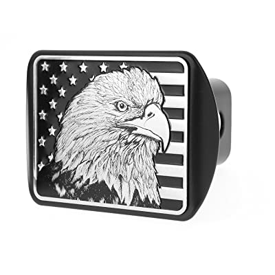 "USA US American Flag Eagle Metal Flag Emblem on Metal Trailer Hitch Cover (Fits 2"" Receiver, Black & Chrome flag): Automotive [5Bkhe0104912]"