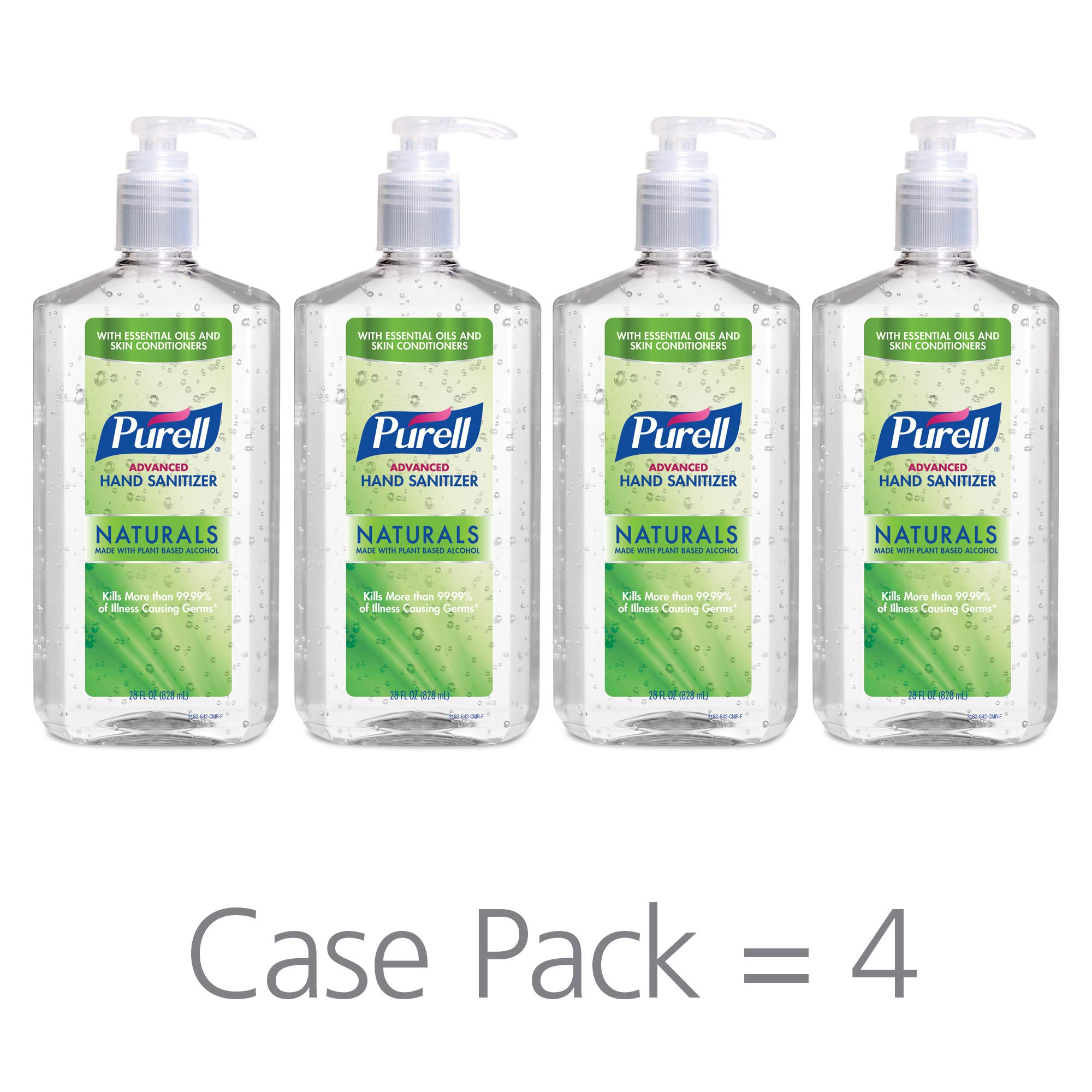 PURELL Advanced Hand Sanitizer Naturals with Plant Based Alcohol, Citrus Scent, 28 fl oz Pump Bottle (Pack of 4) - 3182-04-CMR by Purell