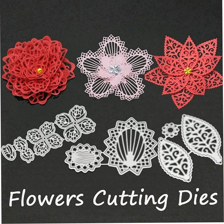 5Pcs//Set Flower Metal Die Cuts,Spring Petal Wedding Flower Leaf Cutting Dies Cut Stencils DIY Scrapbooking Craft Album Decorative Embossing Paper Dies for Card Making