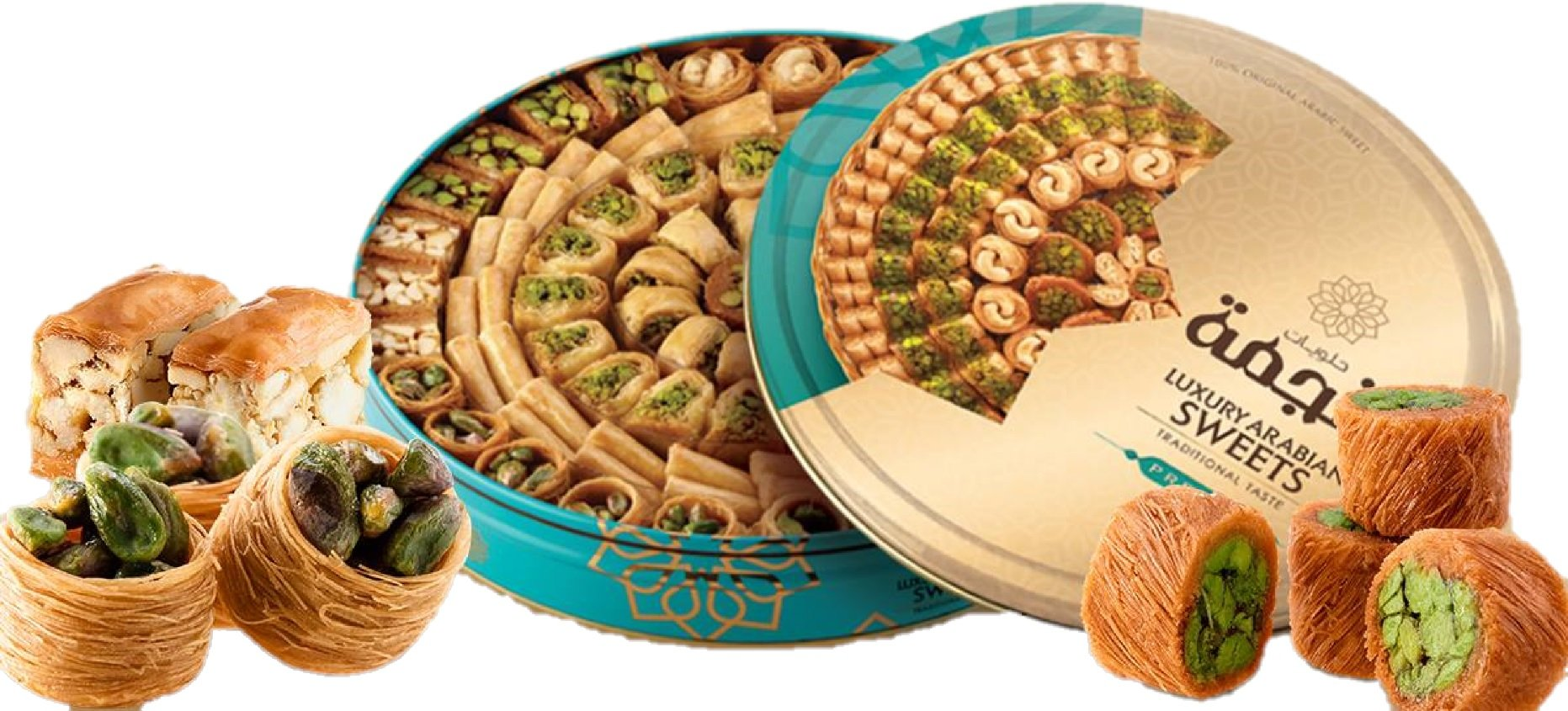 P110 - Baklava Sweets Assorted (105-110 Pcs, 10 Varieties) (36 Oz Net, 3 lbs Gross) (Oglu) - Cookies Pastry Assortment in Very Classy Gift Box (Baklava Mix Box, P110) by Turkish Delight (Image #2)