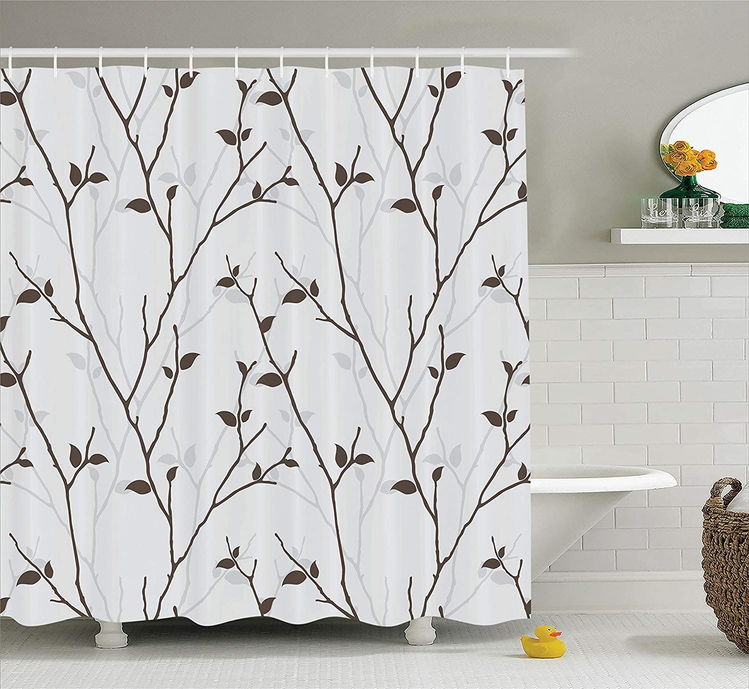 "Ambesonne Leaf Shower Curtain, Branches in The Fall Trees Stem Twig with Last Few Leaves Minimalistic Design Art, Cloth Fabric Bathroom Decor Set with Hooks, 84"" Long Extra, Grey Brown"