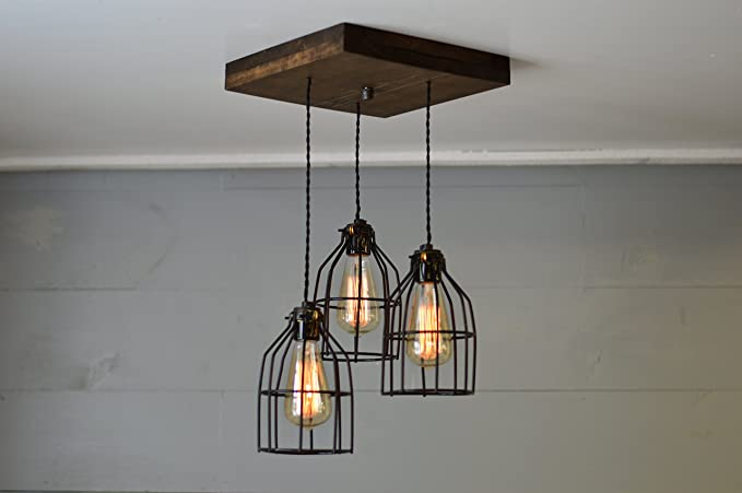 Old elm wood multi pendant light with black cages farmhouse old elm wood multi pendant light with black cages farmhouse chandelier aloadofball Image collections