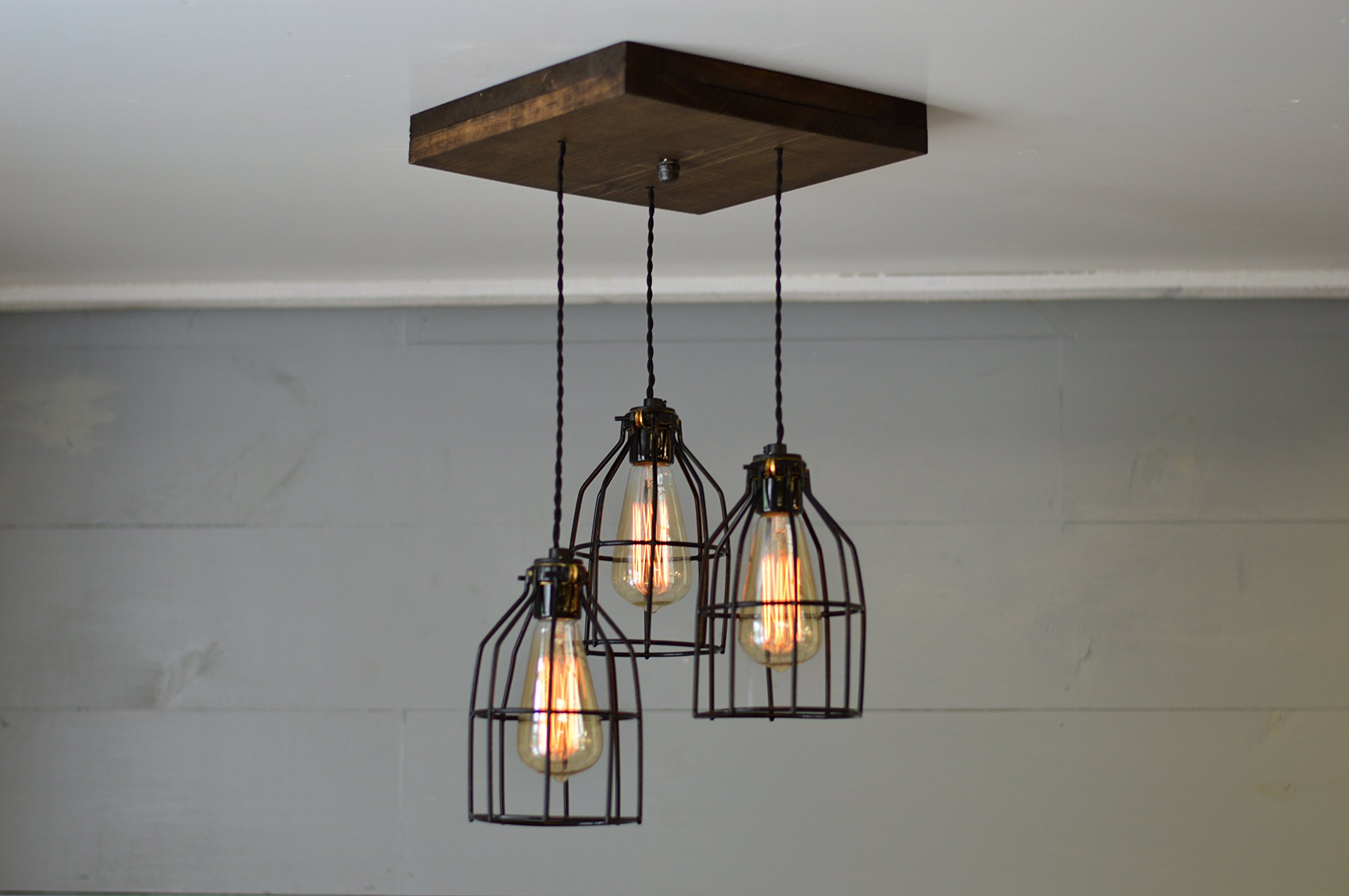 Old Elm Wood Multi Pendant Light (W/Black Cages) by West Ninth Vintage