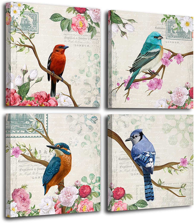 ZEREAA Vintage Wall Art Bird Decor - Flower and Four Birds Framed Wall Art for Bedroom, Living Room, Bathroom, Kitchen, 4 Pieces 12