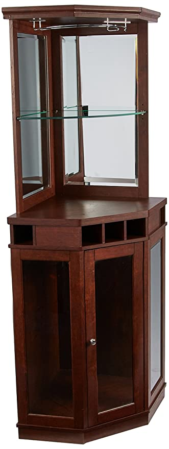 Amazon Com Home Source Dc03 Corner Bar Unit Mahogany Kitchen Dining