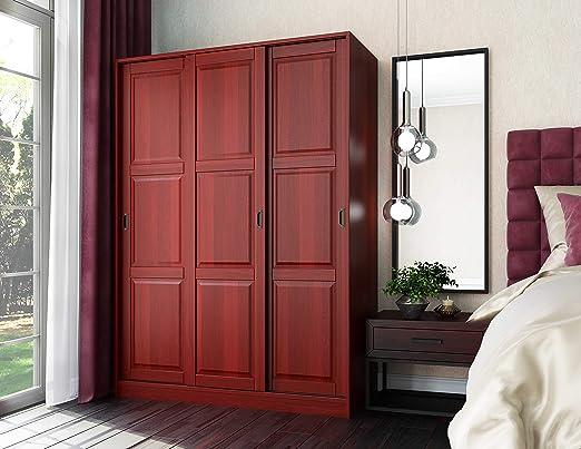 100% madera maciza armario con 3 puertas correderas planteado ...