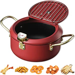 Upgrade Tempura Deep Fryer Pot With Thermometer And Oil Drip Rack Lid for Chicken French Fries Fish and Shrimp Oil Frying Pan (Red Wine(~ 2600ml))