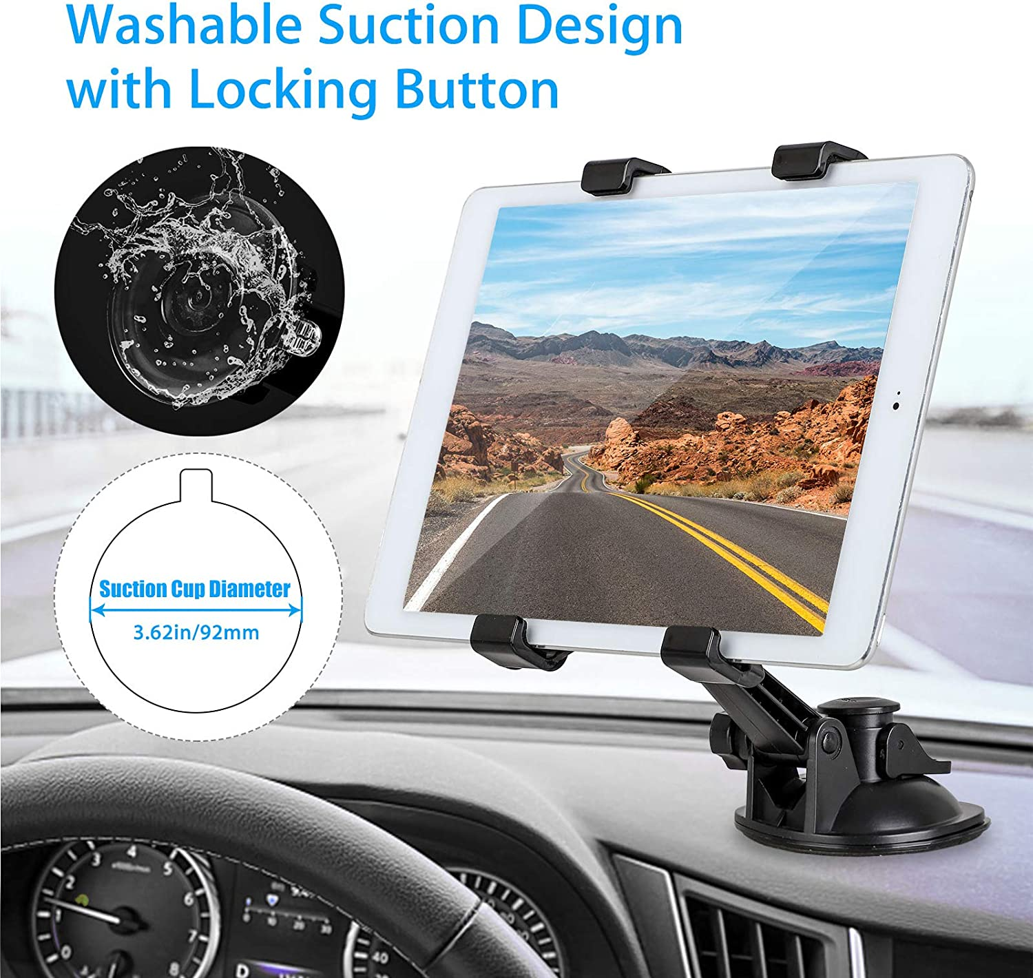 Tablet Holder All 7-10.5 Tablets Car Tablet Dash Mount Holder Stand for Car Windshield Dashboard Universal Tablet Car Mount with Suction Cup Compatible for Samsung Galaxy Tab A E//iPad Mini Pro Air 4 3