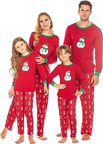 Pijamas de Navidad Familia Manga Larga Pijamas Familiares de Navidad Ropa de Dormir Casual Mujere Hombre Niños