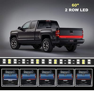 LED Truck Tailgate Light Bar Strip, 60 Inch Red Brake Light White Reverse Running Turn Signal Tail Lights for Pickup Trailer Jeep SUV RV Van Dodge, No Drill Install (2-row): Automotive