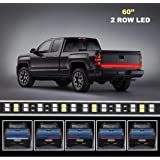 MJIYA LED Truck Tailgate Light Bar Strip, 60 Inch Red Brake Light White Reverse Running Turn Signal Tail Lights for…