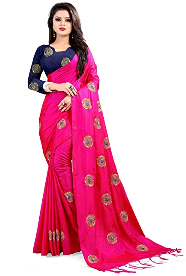 b05f663c6c Ethnic vila paper silk saree for women(pink saree): Amazon.in: Clothing &  Accessories