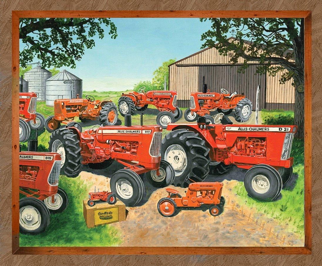 Allis Chalmers Tractor Fabric, Large Panel, Brown