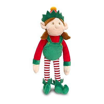 25cm Elf Juguete suave felpa niña vestida de rojo y verde con traqueteo - Navidad Stocking Fillers: Juguetes y juegos