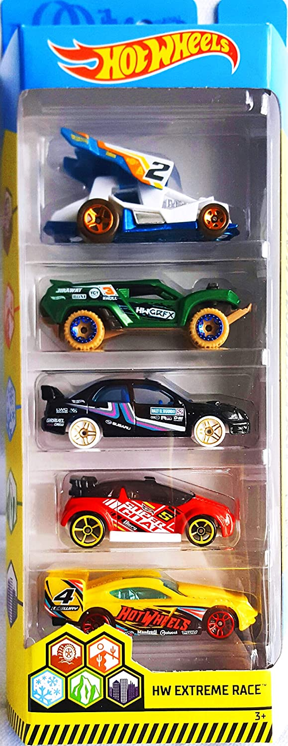 Hot Wheels 2019 HW Extreme Race 5-Pack (Dirty Outlaw, Dune Crusher, Subaru Impreza WRX, Super Gnat, Time Tracker)
