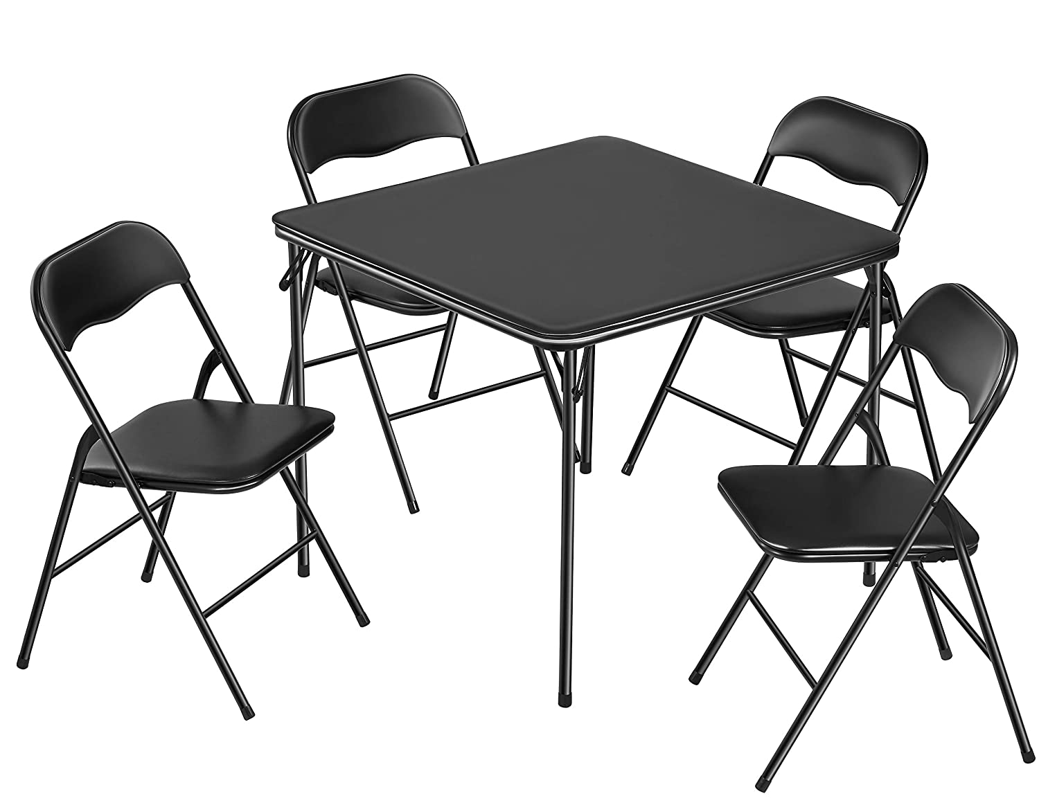 Kealive Folding Table and Chairs 5 Piece Padded Seat, Square Card Table and Chairs Set with Locking Legs, Multipurpose Dining Game Table for Puzzles Portable and Easy for Compact Storage, Black