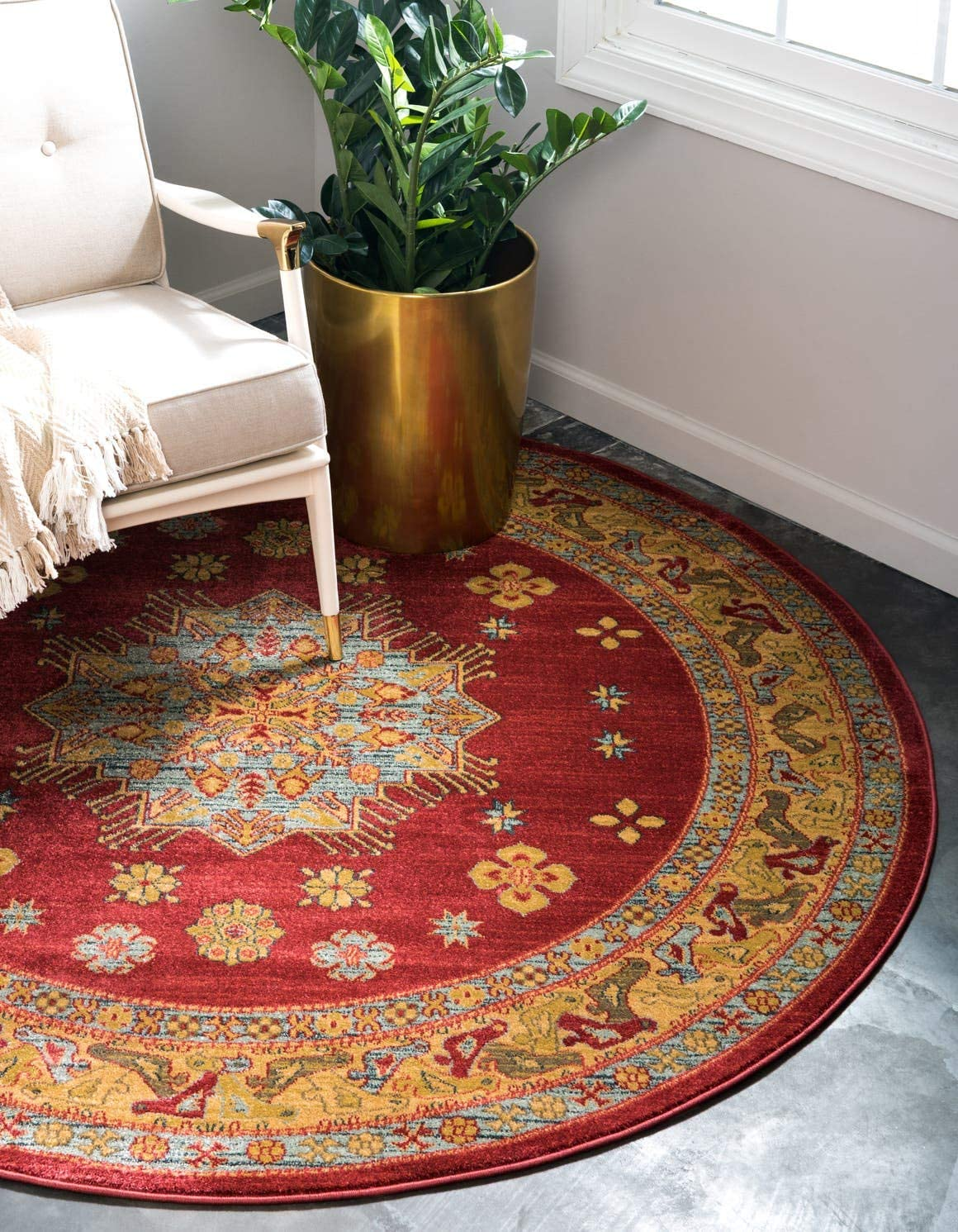 Unique Loom Sahand Collection Traditional Geometric Classic Red Round Rug 8 0 x 8 0