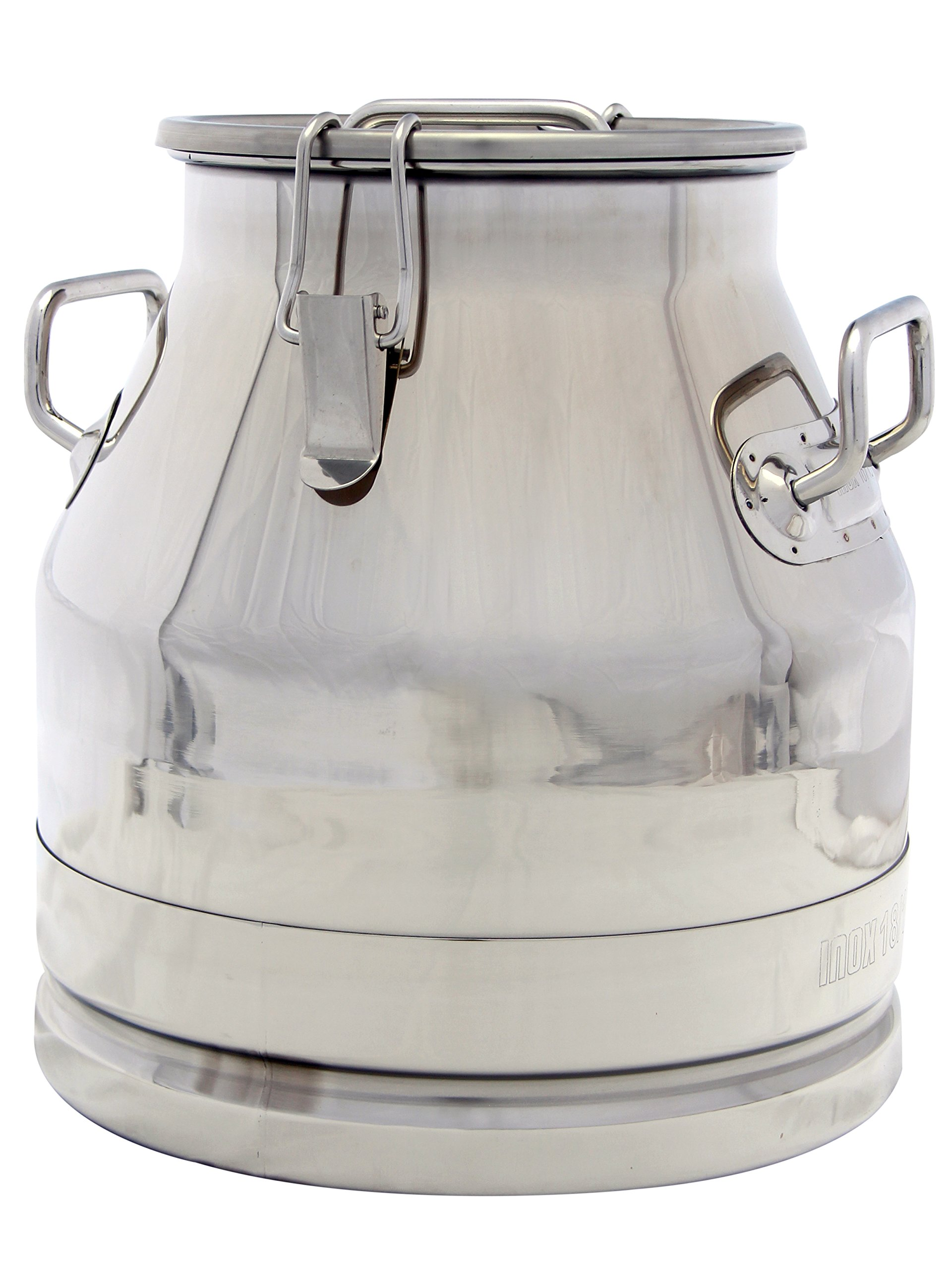 5 Gallon Milk Can Tote Jug, Stainless Steel 20 Qt. Heavy Duty Sides, Strong, Sealed Lid