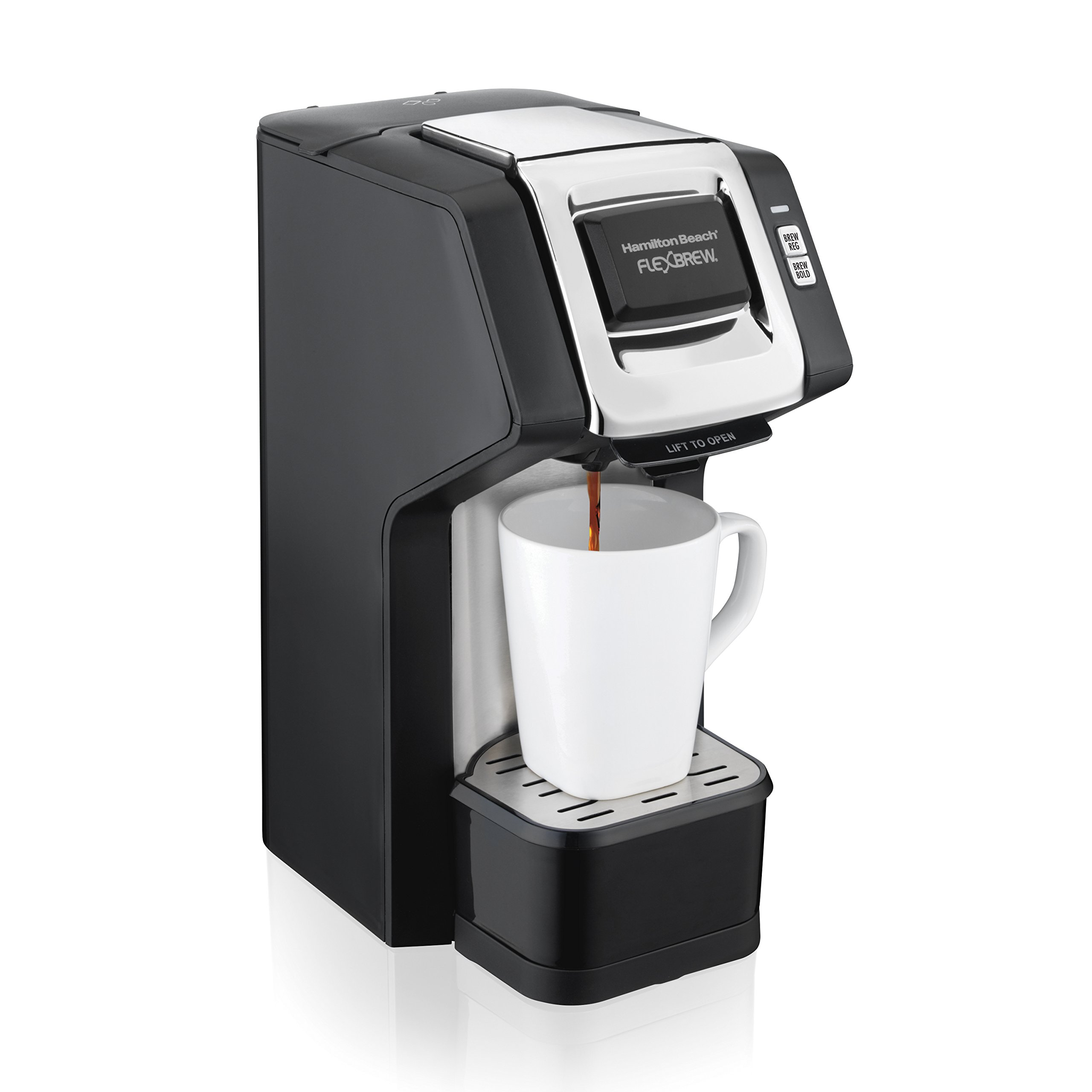 Hamilton Beach (49979) Single Serve Coffee Maker,Compatible withK-Cup Packs and Ground Coffee, Flexbrew with Adjustable Brew Strength, Black