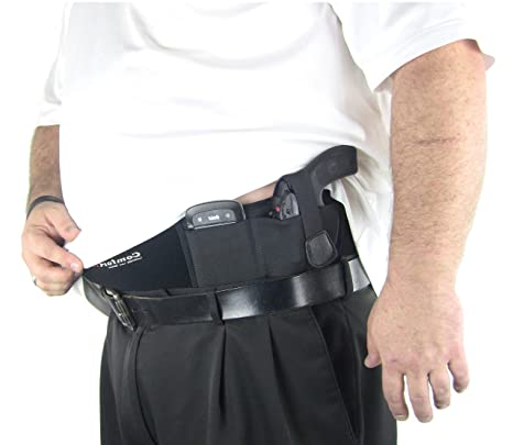 ComfortTac XL Ultimate Belly Band Holster for Concealed Carry | Black |  Fits Gun Smith and Wesson Bodyguard, Glock 19, 17, 42, 43, P238, Ruger LCP,