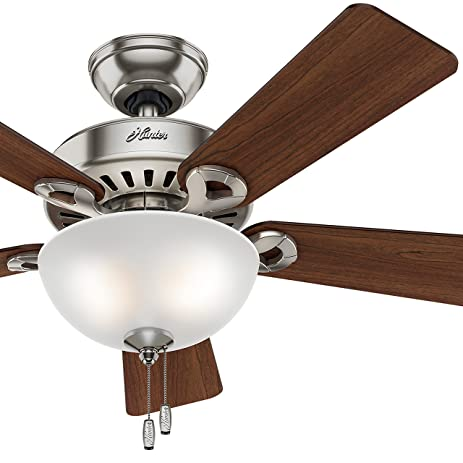 Hunter fan 44 brushed nickel ceiling fan with light kit and cased hunter fan 44quot brushed nickel ceiling fan with light kit and cased white glass mozeypictures Choice Image