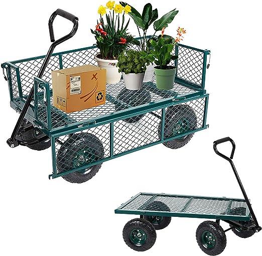 LUCKYERMORE - Carro de Metal para jardín, con Capacidad de Peso de 136 kg con Carro de Carro de Carretilla Plegable extraíble: Amazon.es: Jardín