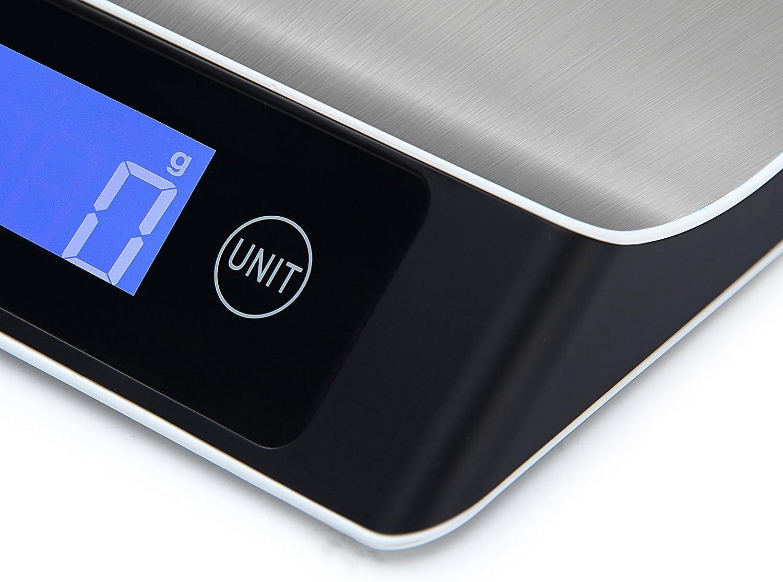 Edelstahl 5000g Maximalgewicht Hohe Pr/äzision auf bis zu 1g Electronische Waage Digitale K/üchenwaage,Professionelle K/üchenwaage LCD-Display,Digitalwaage Inklusive Batterien