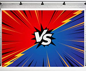 PHMOJEN VS Backdrop Red and Blue PK Photography Background Little Superhero Game Wrestling Backdrop Photo Booth Props 10x7ft LFPH189