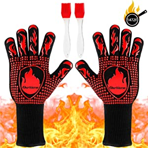 AerWo BBQ Gloves, Oven Grill Gloves 1472℉ Heat Resistant Barbecue Grilling Gloves with 2 Brushes, Food Grade Kitchen Non-Slip Silicone Fireproof Gloves for Baking, Cooking, Cutting, Welding, 13