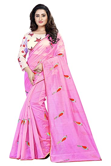 Orangesell Women S Chanderi Cotton Embroidery Work Saree With Blouse