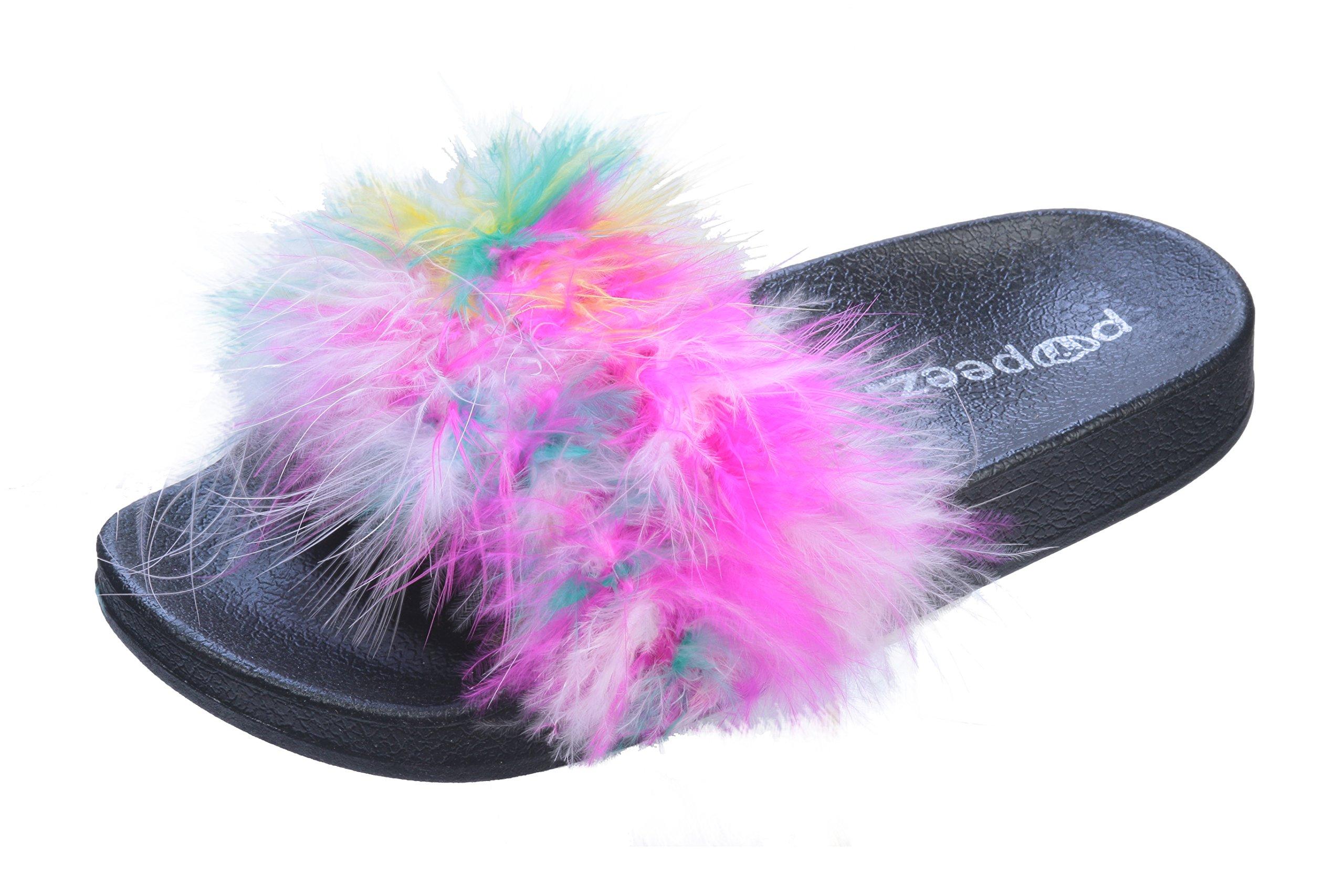Tipi Toe Girls Flip Flop Slide Slipper with Soft Faux Fur Upper Rainbow 12