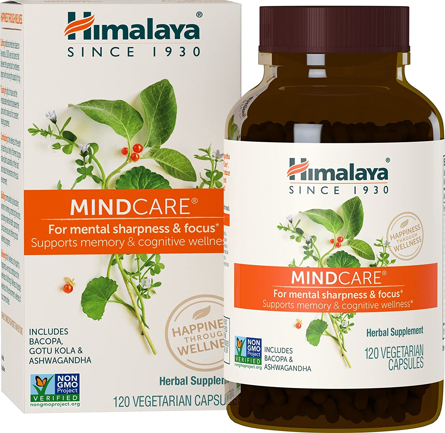 Himalaya MindCare Mentat with Bacopa and Gotu Kola for Brain and Mental Alertness 120 Capsules, 1170 mg