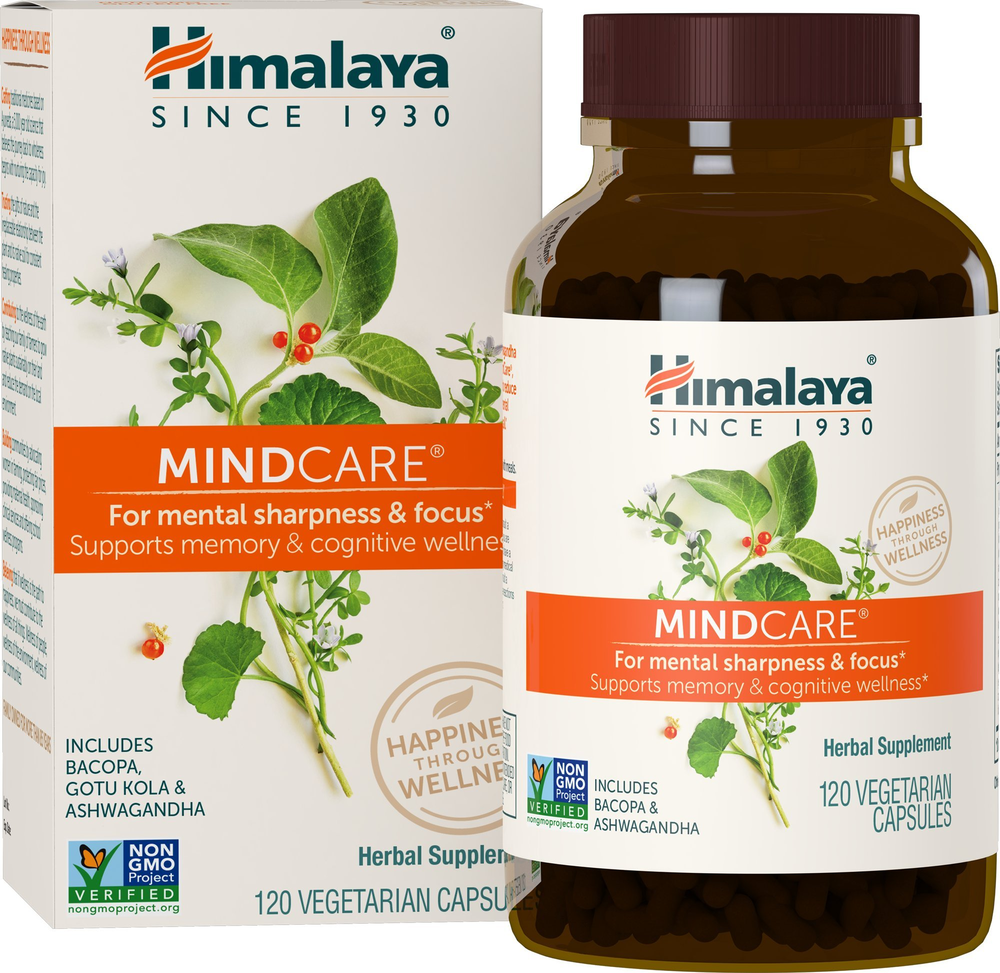 Himalaya MindCare/Mentat with Bacopa and Gotu Kola for Brain and Mental Alertness 120 Capsules, 1170 mg