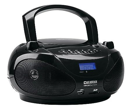 Beatfoxx Boomtastic Tragbarer CD-Player mit Bluetooth (Boombox, Ghettoblaster, Radiorecorder, USB/SD/MP3-Player, UKW-Radio, B