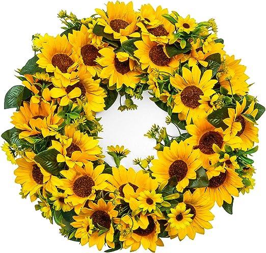 Amazon Com Lasperal Artificial Sunflower Wreath Summer Wreath