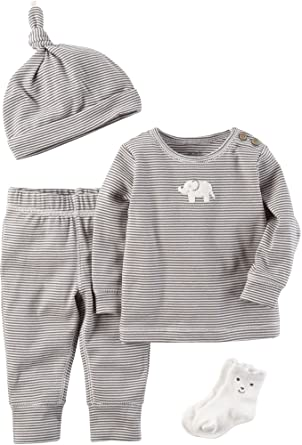 418cfbb92 Amazon.com: Carter's Baby 4 Piece Elephant Take Me Home Set: Clothing