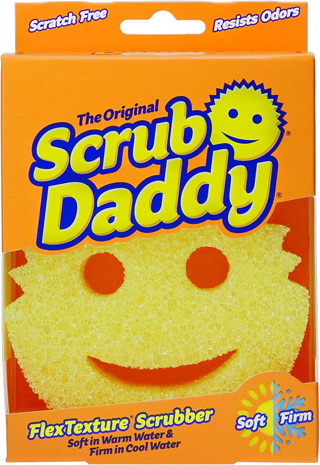 Scrub Daddy- The Original Scrub Daddy - FlexTexture Sponge, Soft in Warm Water, Firm in Cold, Deep Cleaning, Dishwasher Safe, Multi-use, Scratch Free, Odor Resistant, Functional, Ergonomic, 1pk
