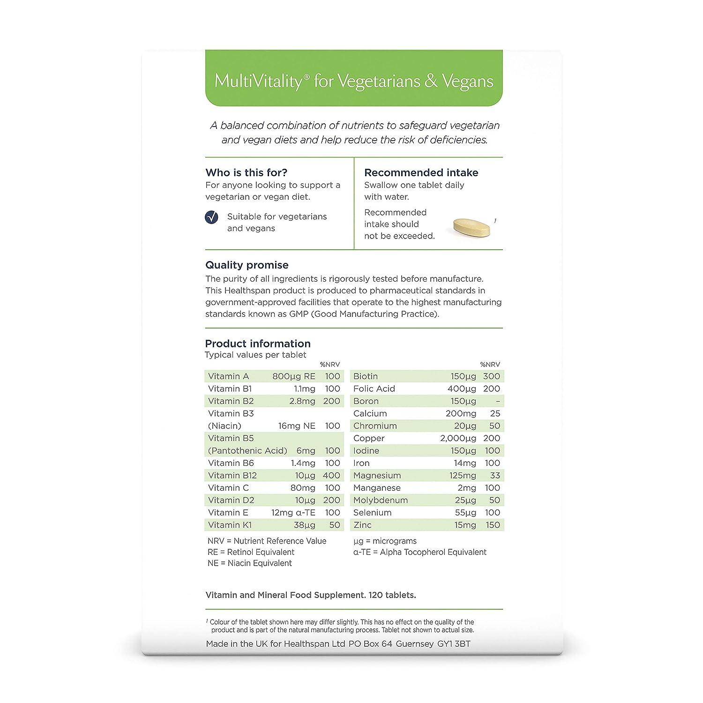 MultiVitality for Vegetarians & Vegans | Healthspan | 120
