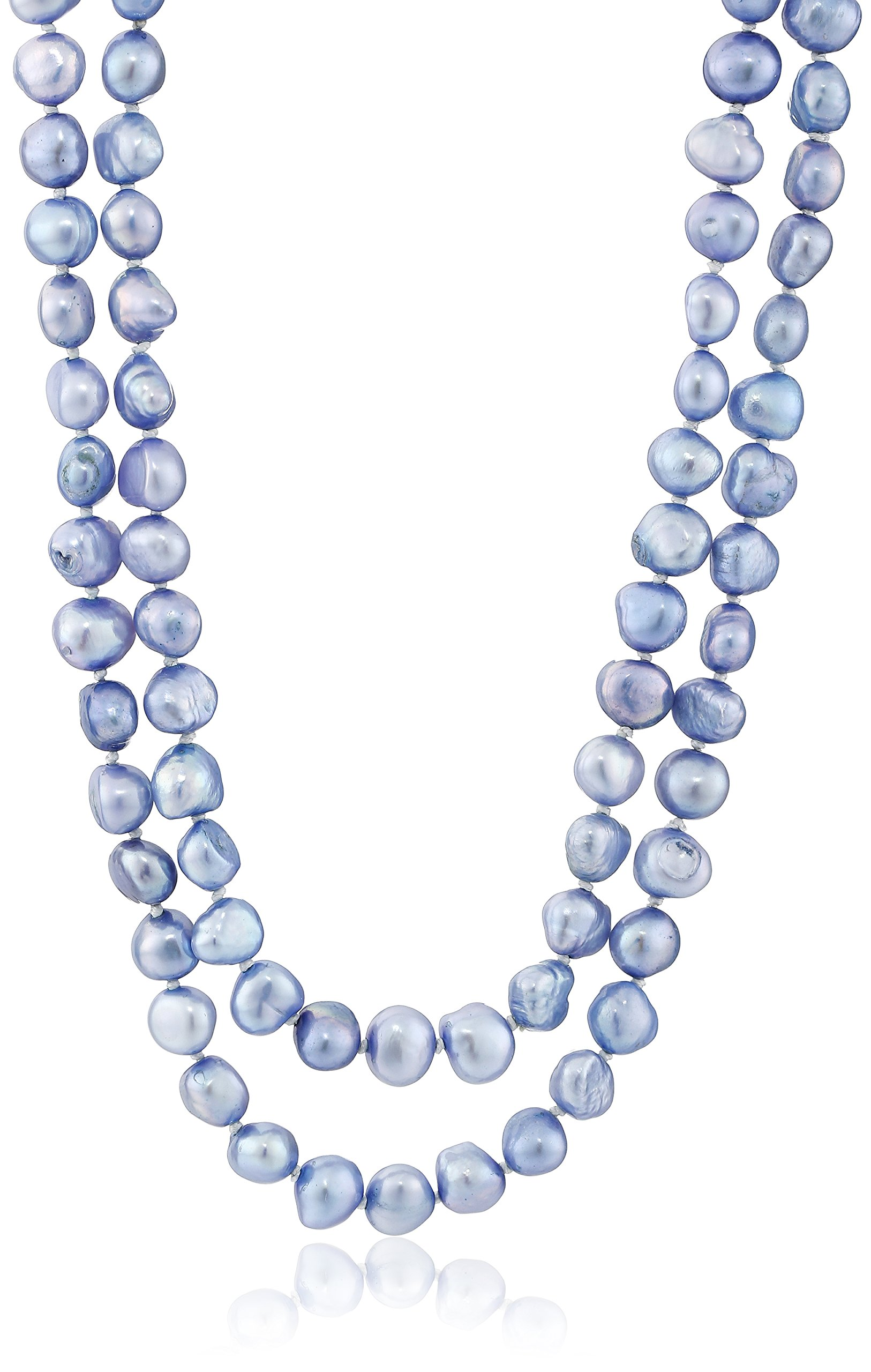 6-7mm Dyed Denim Baroque Freshwater Cultured Pearl Endless Necklace, 50''