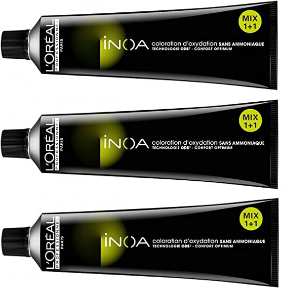 Loreal Inoa, Tinte Tono 7 (Rubio Medio), 60 ml, 3 Unidades