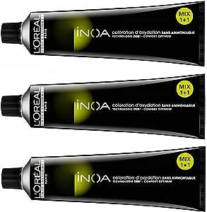 Tinte de pelo sin amoniaco LP, rubio cobrizo profundo Inoa 7,44 de LOreal, 3 x 60 ml