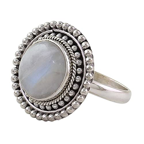 NOVICA Rainbow Moonstone .925 Sterling Silver Cocktail Ring Rainbow Elegance