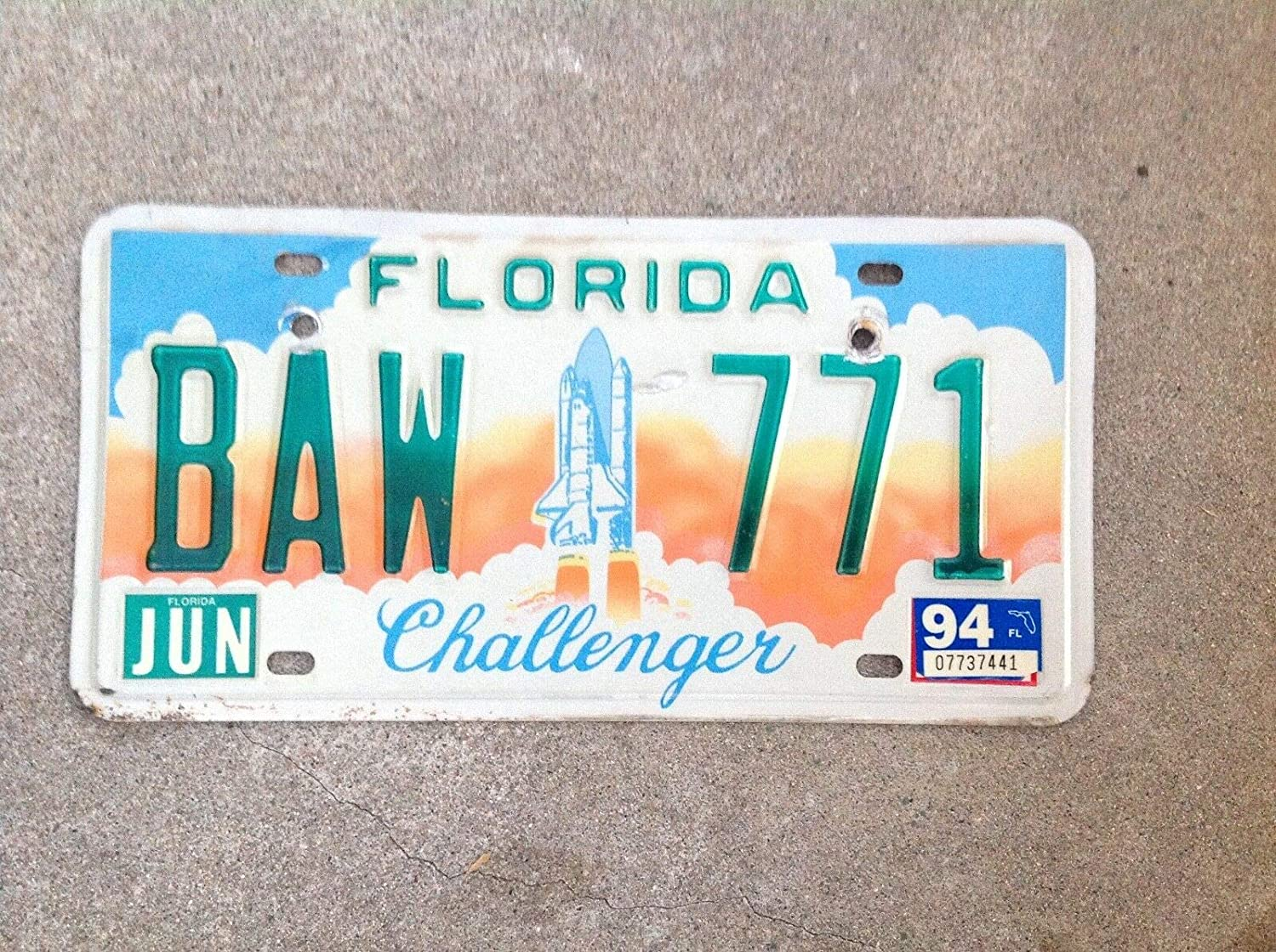 Inga Plaque dimmatriculation Florida Challenger Space Shuttle 6x12