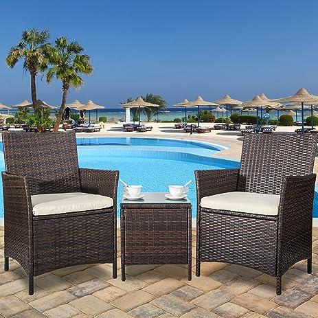 amazon com merax 3 piece patio rattan furniture set with cushions