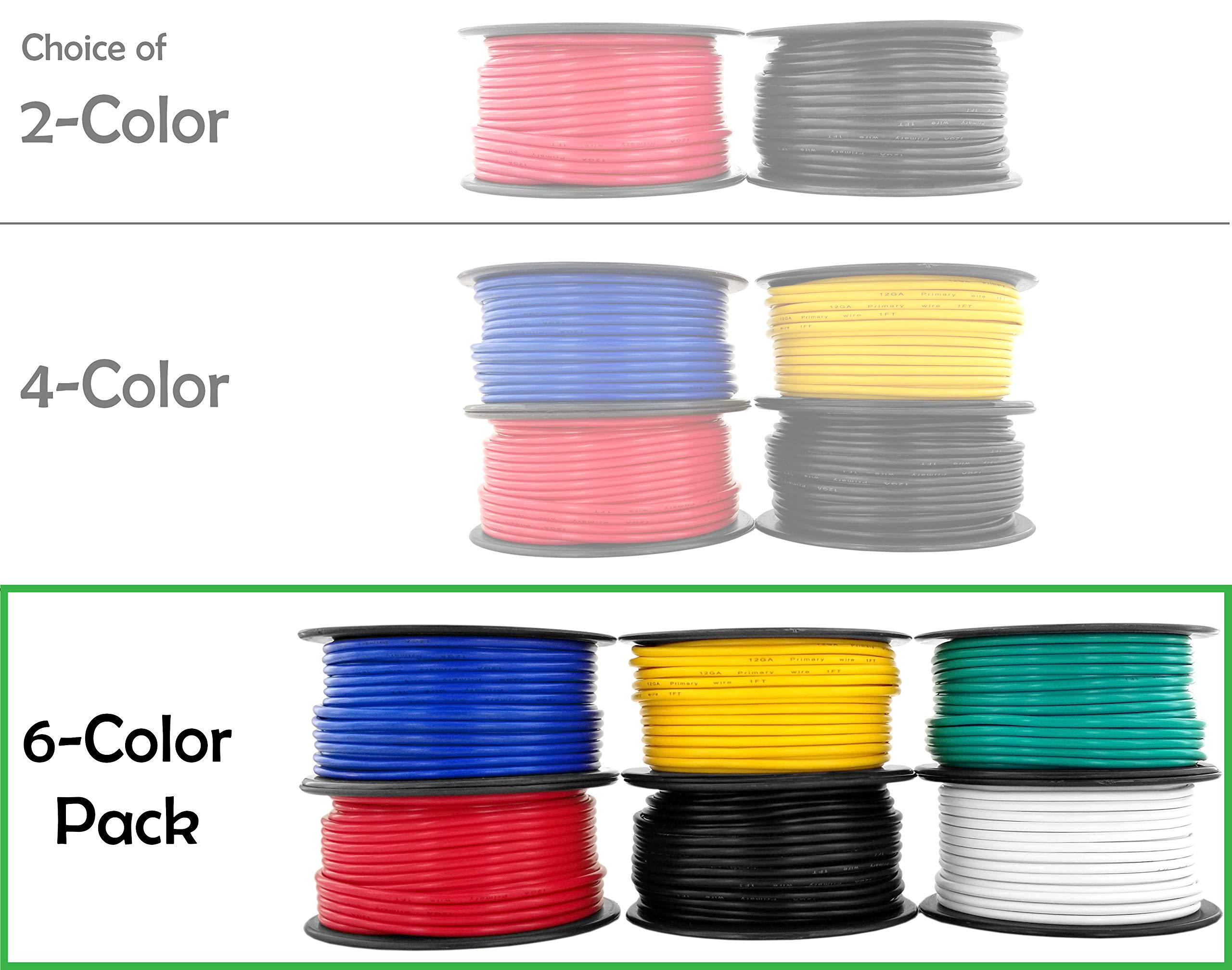 12 Gauge Copper Clad Aluminum Low Voltage Primary Wire 6 Color Combo 100 ft per Roll (600 feet Total) for 12V Automotive Trailer Light Car Audio Stereo Harness Wiring (Also in 2 or 4 Color Combo) by GS Power