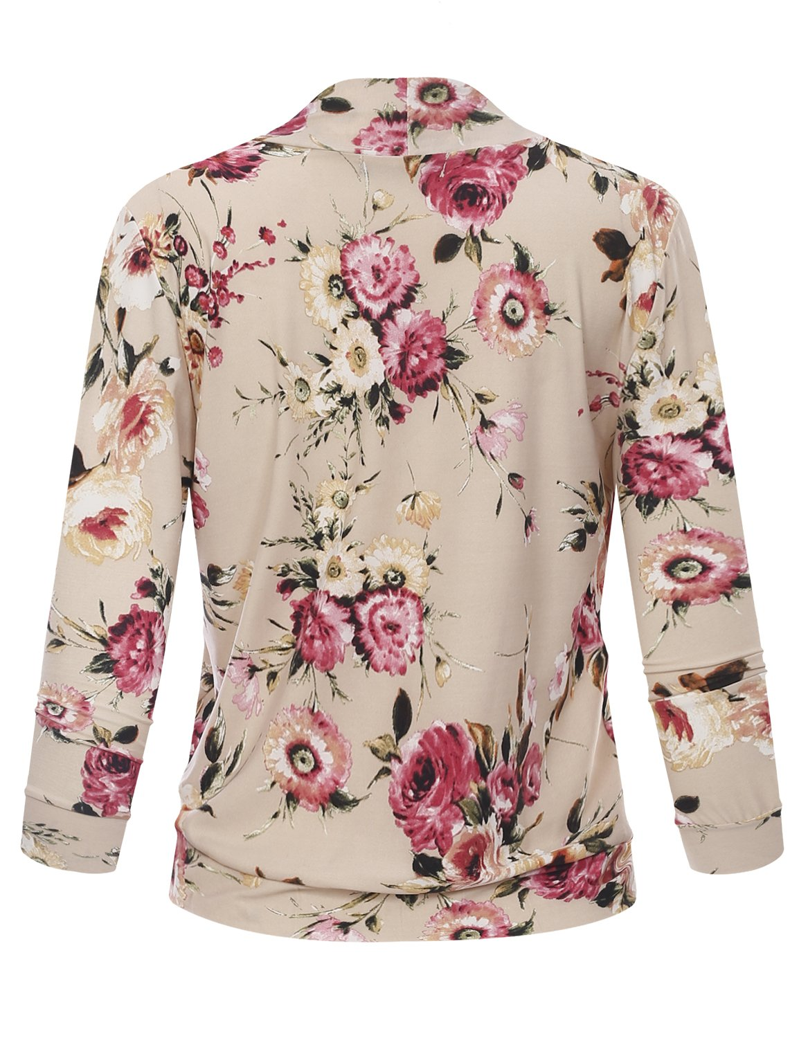 BILY Women's Classic Open Front Cropped 3/4 Sleeve Floral Print Cardigan 11992 Stone Medium by B.I.L.Y (Image #3)