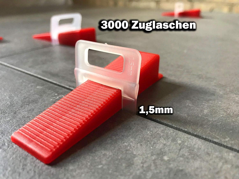 Das G/ÜNSTIGE Fliesen Nivelliersystem Zange Keile Zuglaschen einzeln oder im Set 1,5mm und 2mm St/ückzahl frei w/ählbar Mega-Auswahl an Variationen Laschen Verlegehilfe 1000 Laschen 500 Keile, 1,5mm