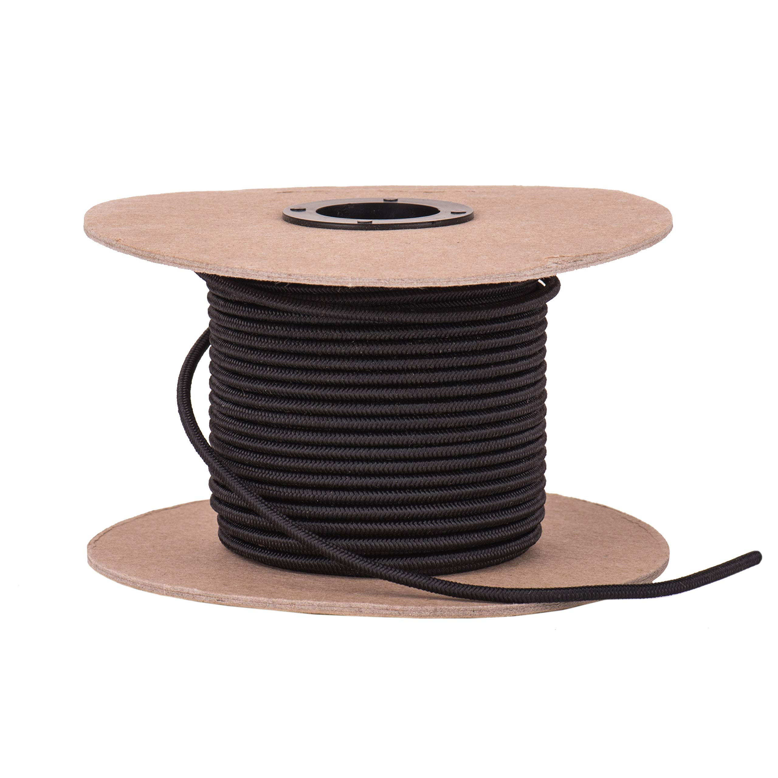 """Elastic Bungee Cord. 3/16"""" and 1/4.'' 50 and 100 Foot Spools. Weather and Abrasion Resistant. Used for Tie Downs, Crafting, DIY Projects. Black Shock Cord. Made in the USA"""