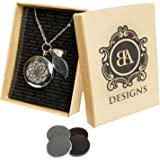 "Stainless Steel Essential Oil Diffuser & Aromatherapy Locket Necklace, Hypo-Allergenic 316L Surgical Grade Stainless Steel,18 Chain with 2"" Extender, Perfect To Use With Young Living & Doterra Oils"