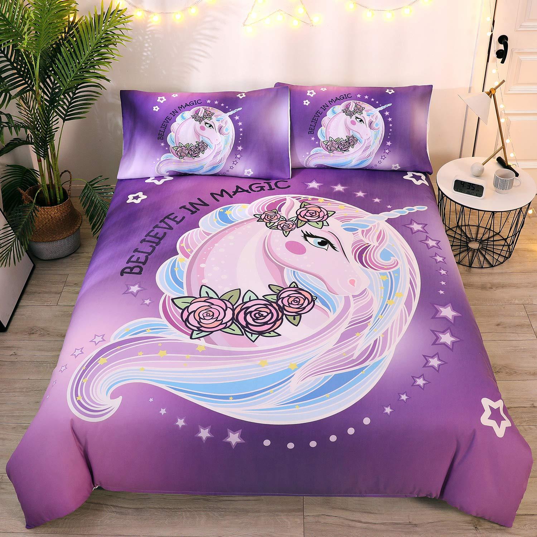 DEERHOME Purple Unicorn Bedding Sets Kids Girls Rose Unicorn Flower Duvet Cover Sets Lovely Cartoon Unicorn Bedspread Cute Duvet Covers for Teens(Full)